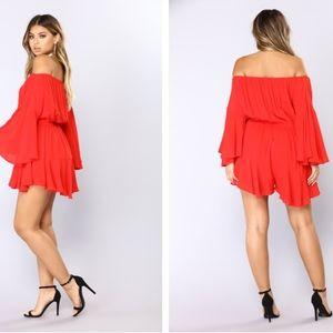 480256d621 Fashion Nova Other - Fashion Nova Red Camellia Off Shoulder Romper